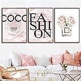 Citas de flores rosas Impresión en lienzo Botella de perfume Carteles e impresiones artísticos de pared Pintura de moda Póster de moda Imágenes Decoración de dormitorio / 50x70cmx3 Sin marco