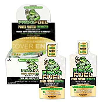 FrogFuel Energized Power Liquid Protein Shot Energy Shot - Berry - 24 1oz Nano Hydrolyzed Collagen Liquid Protein Shots Proven 100% Digestibility in <15 Minutes Complete Protein Not a Protein Gel.