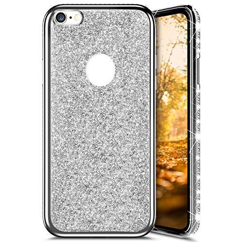 Qpolly - Carcasa de silicona suave con purpurina brillante, compatible con iPhone 6/6S, Glitter Argento
