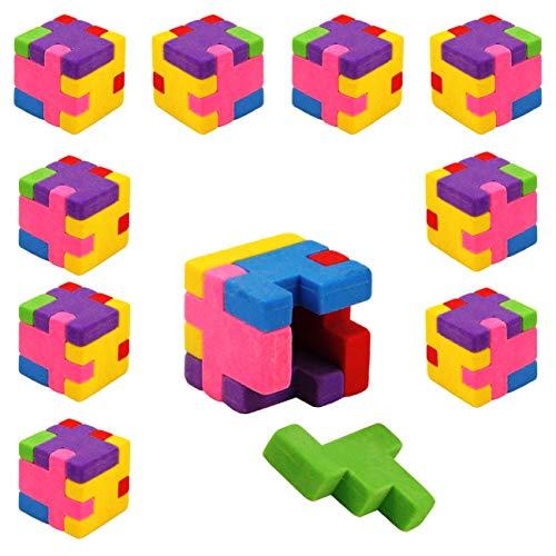 PartyPack 9X Radiergummis im Mini Puzzle-Würfel Form, Kinder Radierer 2,7 cm, perfektes Mitgebsel, Ideal zum Schulanfang, Kinder Partygeschenke, Kindergeburtstag Gastgeschenke.