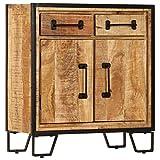 Festnight- Sideboard Kommode Schrank   Holz Beistellschrank mit 2 F?Chern und 2 Schubladen für Esszimmer Küche Wohnzimmer Schlafzimmer 65 x 30 x 70 cm Massivholz Mango & Stahl