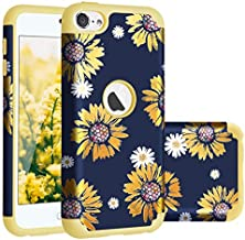 Casewind iPod Touch 7 case, iPod Touch 6 Case, iPod Touch 5/6/7 Case Sunflower Hard PC Silicone Dual Layer Hybrid Shockproof Anti-Scratch Bumper Protective Case for iPod Touch 5th 6th 7th Gen, Gold