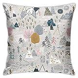 Max's Map - Funda de almohada con diseño de mapa de color rosa y moderno para sofá, cama, silla, coche, 45,7 x 45,7 cm