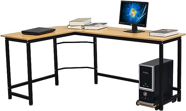 Binlin L Shaped Desk Modern L Shaped Desk Corner Computer Desk PC Latop Study Table Workstation Home Office Wood Metal Wood