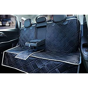 njnj 100% Waterproof Bench Car Seat Cover Protector – Strong Durable,Nonslip Dog Seat Cover for Back Seat Compatible for Middle Seat Belt,Universal Size Fits for Cars,Trucks & SUVs