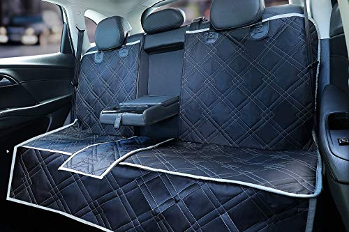 njnj 100% Waterproof Bench Car Seat Cover Protector - Strong Durable,Nonslip Dog Seat Cover for Back Seat,Compatible for Middle Seat Belt and Armrest,Universal Size Fits for Cars,Trucks & SUVs