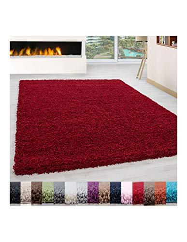 Carpet 1001 Pelo Largo Peluda Shaggy Sala de Estar Alfombra de Diferentes Tamaños y Colores - Rojo, 200x290 cm