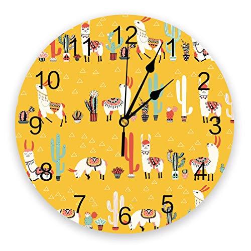 Leeypltm Moderno Silencioso Cuarzo Redondo Reloj de,Cactus Lama Alpaca México Kawaii Reloj de Pared Retro Grande,Reloj de Pared de Alta precisión,