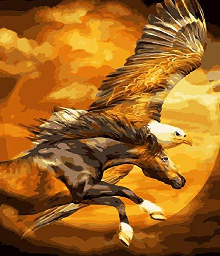 Rompecabezas de 1000 piezas Rompecabezas adulto para niños Rompecabezas clásico Rompecabezas de madera Flying Eagle and Horse Puzzle Juego Juguetes Regalo 75x50cm