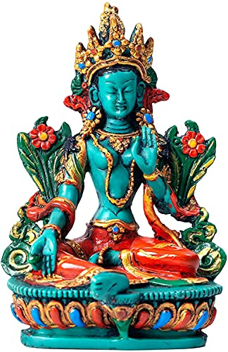 Juccini Buddha Meditation Statue - Indoor, Outdoor, Garden Buddah Decoration - 6' Colorful Spiritual Buda Figurine for Home & Office Decor - Hand Painted in Nepal (Green Tara)
