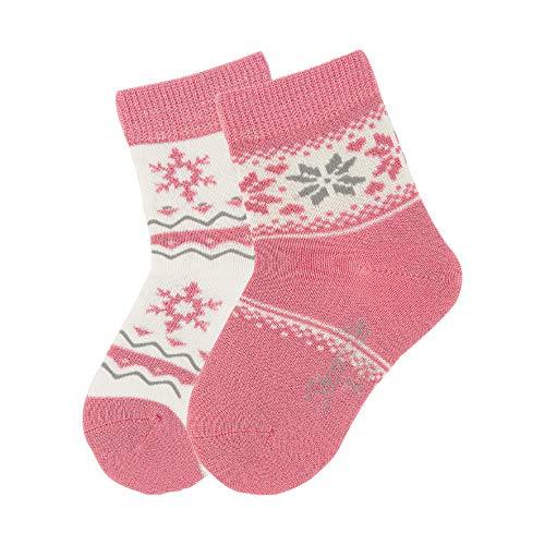Sterntaler Baby - Mädchen Socken Söckchen 2er Pack Folkore, Rot (Koralle 835), 19-22
