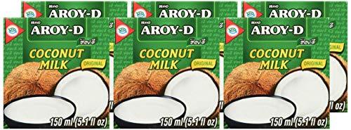 Aroy-D 100% Coconut Milk Mini-size 5.1 Fluid Ounce (150ml), Pack of 6