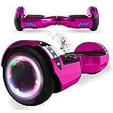 Wind Way Hoverboard 6,5' - Moteur 700W - Parleur Bluetooth - Self Balancing Scooter Tout Terrain Adulte - Skateboard LED - Gyropode Bonne Qualité - Enfant SmartBoard Pas Cher - Rose Chromé