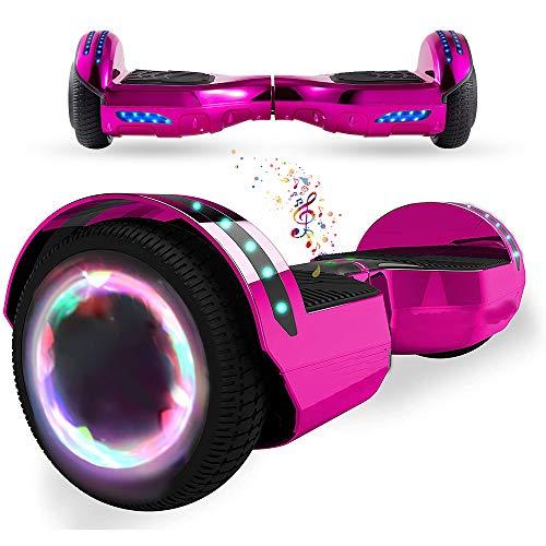 """Wind Way Hoverboard 6,5"""" - Moteur 700W - Parleur Bluetooth - Self Balancing Scooter Tout Terrain Adulte - Skateboard LED - Gyropode Bonne Qualité - Enfant SmartBoard Pas Cher - Rose Chromé"""