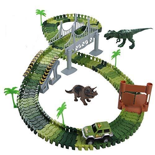 Nuheby Pista Macchinine Dinosauro Giocattolo Auto Giocattolo Pista Flessibile con Blocchi Traccia per Bambini Regalo Ragazza Ragazzo 3 4 5 6 Anni,142 Pezzi