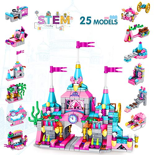 LUKAT Building Toys for 5 6 7 8 9 10 Year Old Girls, 568pcs Princess Castle Building Block Set STEM Learning Toy 25-in-1 Creative Construction Building Brick Educational Engineering Best Gift for Kids