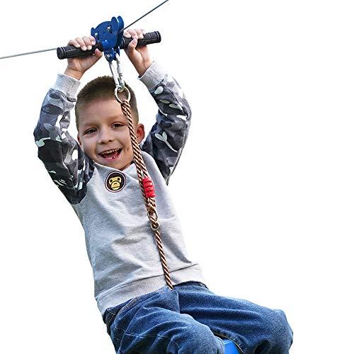 REISIO 100' Kid Zipline for Backyard ,Adult Adjustable Zipline Kits for Outdoor Play Playground Entertainment (Blue)