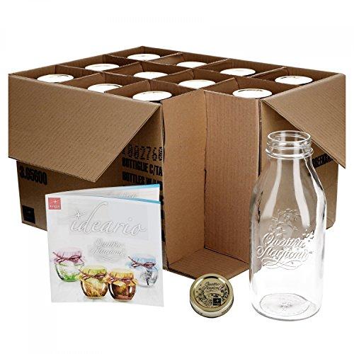 Bormioli 12er Set Einmachglas Original Quattro Stagioni 1,0L Flasche incl Rezeptheft
