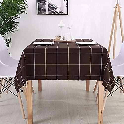 KTDT Mantel de Restaurante Occidental Mantel de Lino de algodón a Cuadros de café Oscuro Mantel marrón 110 * 170cm Mantel Redondo Floral para Exterior Redondo