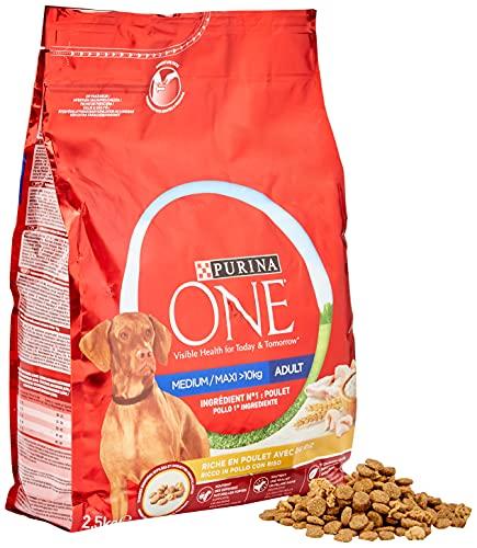 Purina One Medio/Maxi croquetas para Perro Adulto Rico en Pollo con arroz, 4 Bolsas de 2,5 kg Cada uno