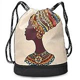 Petrichor Yi Bolso de Lazo Mujer Africana Tribal en Vestido de Moda étnico Tradicional Retrato Glamour gráfico Crema y Bolso de Gimnasio marrón Saco de Gimnasio