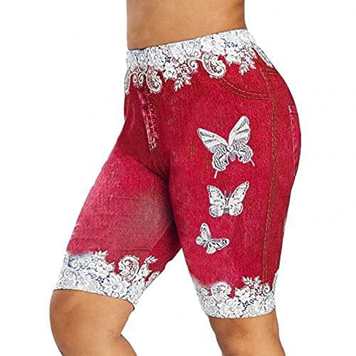 N\P Pantalones cortos de mezclilla de las mujeres de encaje patchwork de la mariposa de la