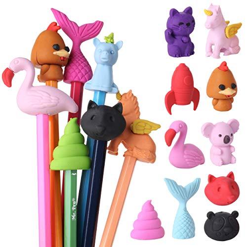 Mr. Pen- Animal Topper Erasers, 22 Pack, 8 Pack Take Apart Animal Erasers, Pencil Toppers, Pencil Erasers Toppers for Kids, Eraser Tops, Cap Erasers for Pencils, Fun Erasers Kids, Pencil Top Erasers