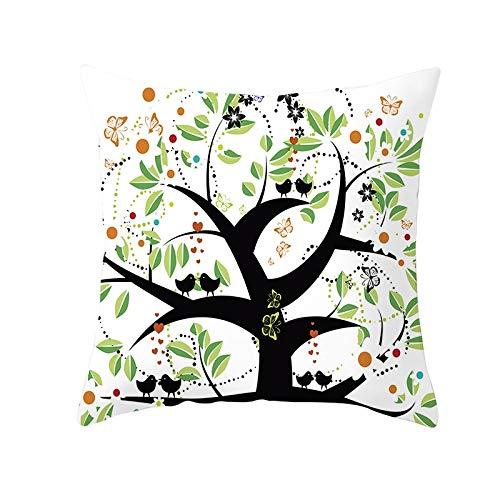 Fundas de Cojines Árbol de dibujos animados Funda de Almohada Cuadrado Terciopelo Suave con Cremallera Invisible para Sofá Cama Coche Decor para Hogar Throw Pillow Case Pillowcase+core,40x40cm R6218
