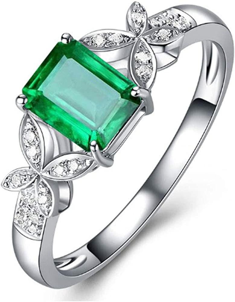 Cute Square Green CZ Butterfly Adjustable Rings for Women Girls Teen Open Band Rings Statement Ring Toe Finger Ring Wedding Valentine's Jewelry Birthday for Friend Lover