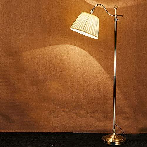 QJUZO Vintage Lampada da Pavimento LED Retro Metallo Rame 12W Lampada da Terra E27 max 60W Lampada a Stelo per Soggiorno, Camera da Letto e altre Stanze