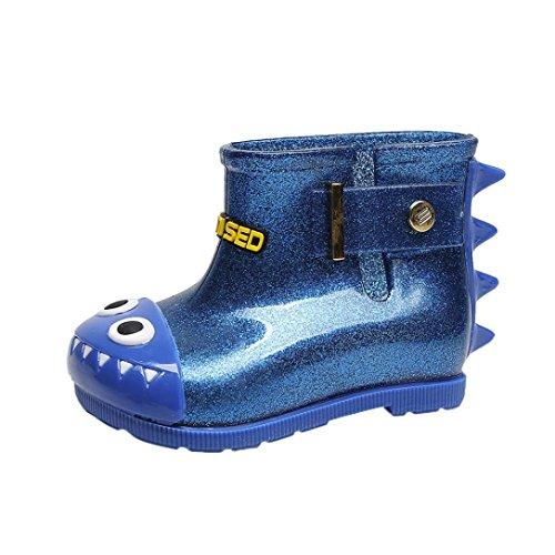FNKDOR Kinder Jungen Mädchen Gummistiefel Hai Regenstiefel Kurzschaft Unisex Schuhe (23, Blau)
