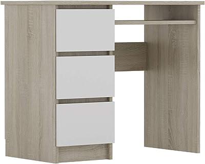 Selsey RAVANELLO - Bureau avec 3 tiroirs - chêne Sonoma/Front Blanc - 90x50 cm - Style Moderne