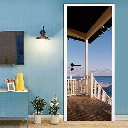 KGKBH Modern Art 3D dörr väggmålning klistermärke självhäftande avtagbar vattentät Diy vinyl dörrdekaler Blå, himmel, sjöutsikt, träpaviljong 77x200cm För vardagsrum Sovrum Kontor Badrum Heminredning