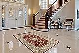 One Couture Orientalischer Teppich Ornamente Schnörkel Teppiche Wohnzimmer Rot Beige Wohnzimmerteppich Esszimmerteppich Teppichläufer Flur-Läufer, Größe:80cm x 150cm