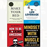 Make your bed[hardcover], life leverage, how to be f*cking awesome, mindset with muscle 4 books collection set