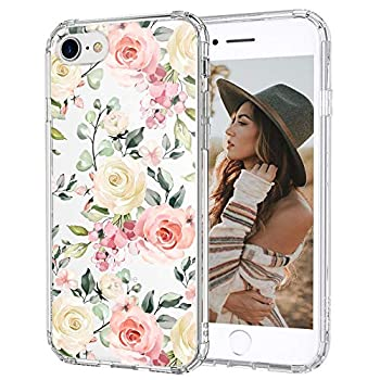 MOSNOVO Watercolor Flower Floral Pattern Designed for iPhone SE 2020 Case/Designed for iPhone 8 Case/Designed for iPhone 7 Case - Clear