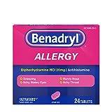 Benadryl Ultratabs Antihistamine Allergy Relief Tablets, Diphenhydramine HCl 25mg, 24 ct (Pack of 2)