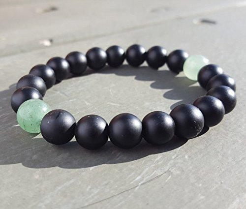 LOVEKUSH Dainty Slave Loose 10mm Stretchable Black Green Aventurine & Mate Black Onyx Bracelet Round, Smooth 7.5' for Mens, Womens.