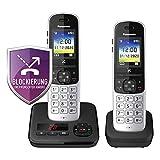 Panasonic KX-TGH722GS Schnurlostelefon Duo mit Anrufbeantworter (DECT Telefon, strahlungsarm, Farbdisplay, Anrufsperre, Freisprechen) schwarz