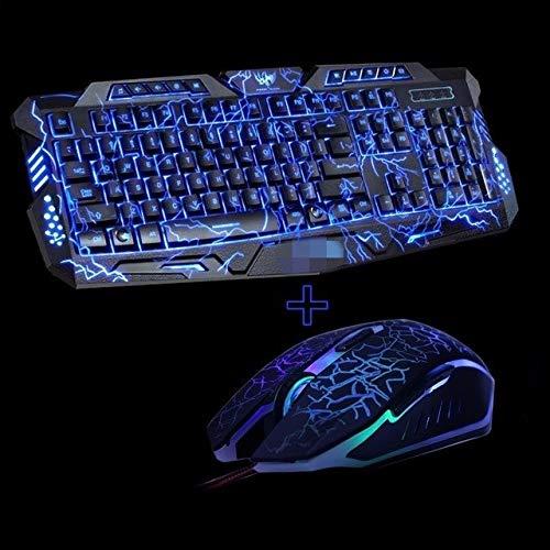 Yqs Teclado Púrpura/Azul/Rojo LED de luz de Fondo de respiración Gaming Keyboard...