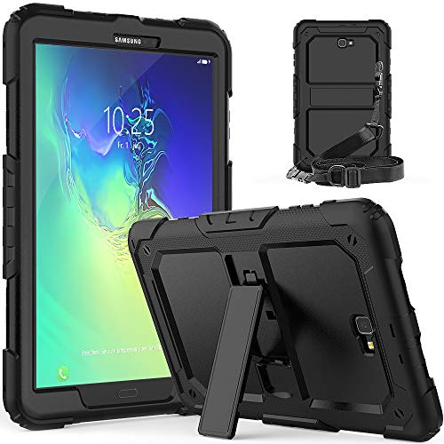 Galaxy Tab A 10.1 T580/T581/T585 Case [ONLY T580/T581/T585], Full Body Rugged Shockproof Drop Protection Bumper Strap Case with KickStand for Samsung Galaxy Tab A6 10.1 2016/2018 Tablet No S Pen-Black