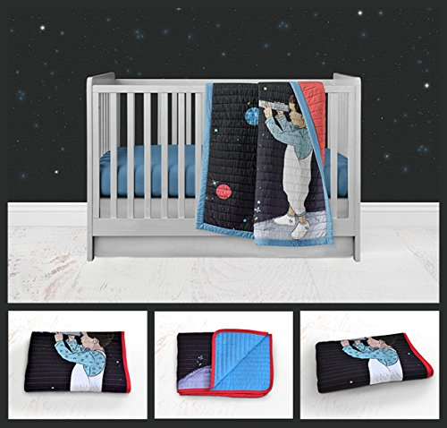 Space watching Modern Baby Bedding Nursery Bedding Colorful Navy Blue Red Black Space Nursery Handmade Crib or Toddler