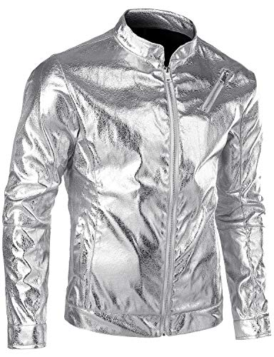 JOGAL Men's Silver Gold Metallic Stand Collar Zip Up Motorcycle Jacket X-Large Silver