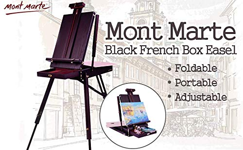 Mont Marte MEA0027 French Box Easels with Drawer, Wooden Pallete, Black,Professional