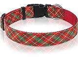 Taglory Christmas Dog Collar, Adjustable Xmas Pet Collars for Large Dogs, Red & <span class='highlight'>Green</span> <span class='highlight'>Plaid</span> Print