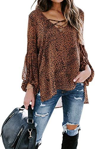 Asvivid Leopard Asymmetrical Tops for Women Long Sleeve Lace Up V Neck Tunic Tops Casual Loose Brown Summer Blouses M