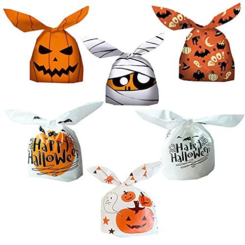 Liuer 60PCS Halloween Bolsas Regalo Cumpleaños Bolsa de Caramero Galleta Piscolabis de Conejo Bolsas Plástico Halloween Bolsa de Dulces para Frutos Secos,Caramelos,Chocolate(6 Estilo)