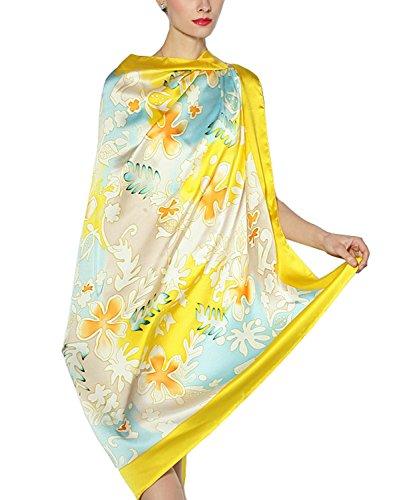 Preisvergleich Produktbild BININBOX Damen Schal Tuch 100% Seide Seidentuch Seidenschal weicher Schal 110 x 110cm 3 Farben (Gelb)