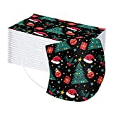 Christmas Disposable_Mask for Adluts 3-Layer Non-Woven Fashion Printed Women Men Face Covering Breathable