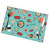 Nar Land Palillos de Sushi japoneses Art Shrimp 6 Piezas Juego de manteles Individuales Mesa Platos de Comida Alfombra Patio Decoraciones de Picnic Adorno Patrón temático